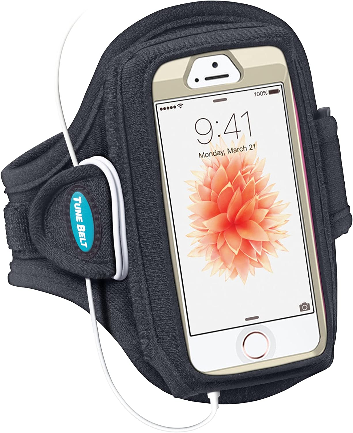 Tune Belt Armband for iPhone SE (1st Generation 2016) and iPhone 5s 5 5c 4S 4 with OtterBox Defender, Commuter or Other Large Case - for Running & Working Out - Sweat-Resistant