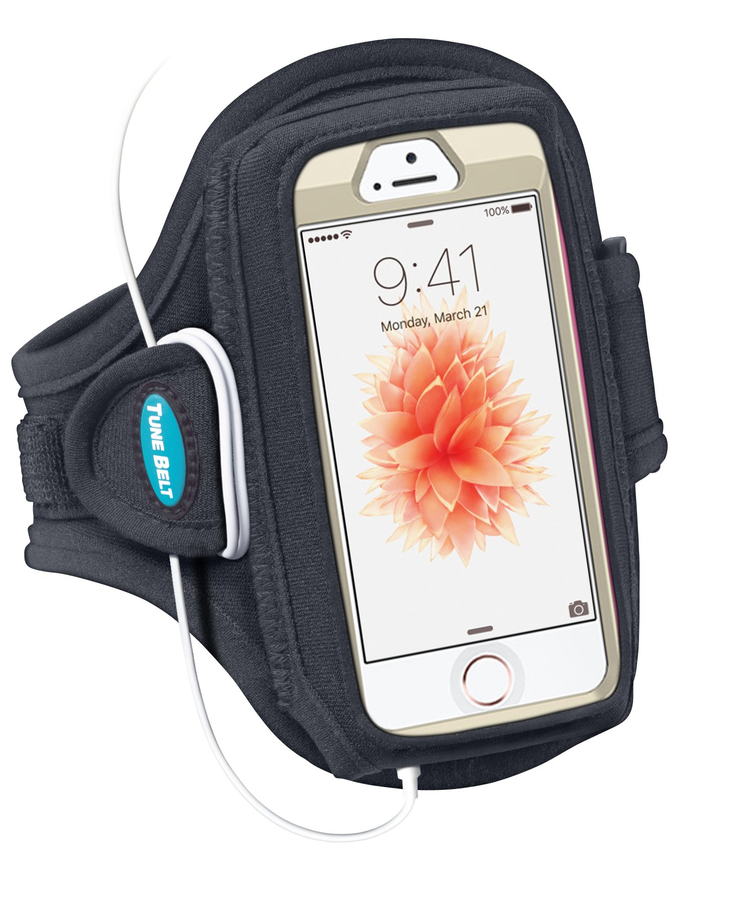 Tune Belt Armband for iPhone SE 5s 5 5c 4S 4 Fits with OtterBox Defender, Commuter or Other Large Case - for Running & Working Out - Sweat-Resistant [Black] by Tune Belt