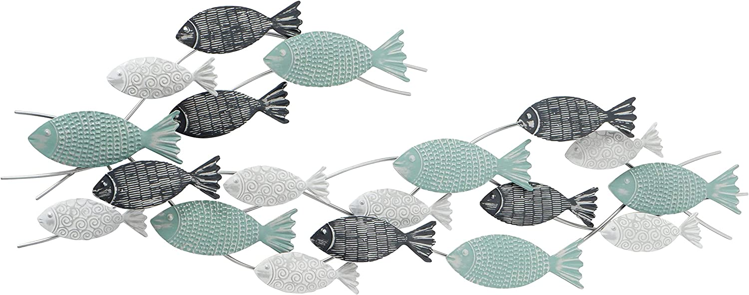 WHW Whole House Worlds School of Fish Metal Wall Decor Art, Teal, White, Grey and Silver, Made by Hand, Vintage Details, Iron, 43.25 Inches, Bas-Relief Sculpture