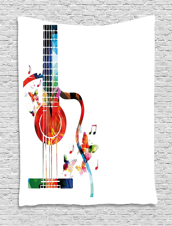 Tapiz para guitarra elementos de naturaleza tem/ática mariposas tela sala de estar qinghexianpan 40 W x 60 L colgante de pared para dormitorio Multi 1 60 W By 80 L multicolor con cuerdas de pol/ígono para instrumentos musicales