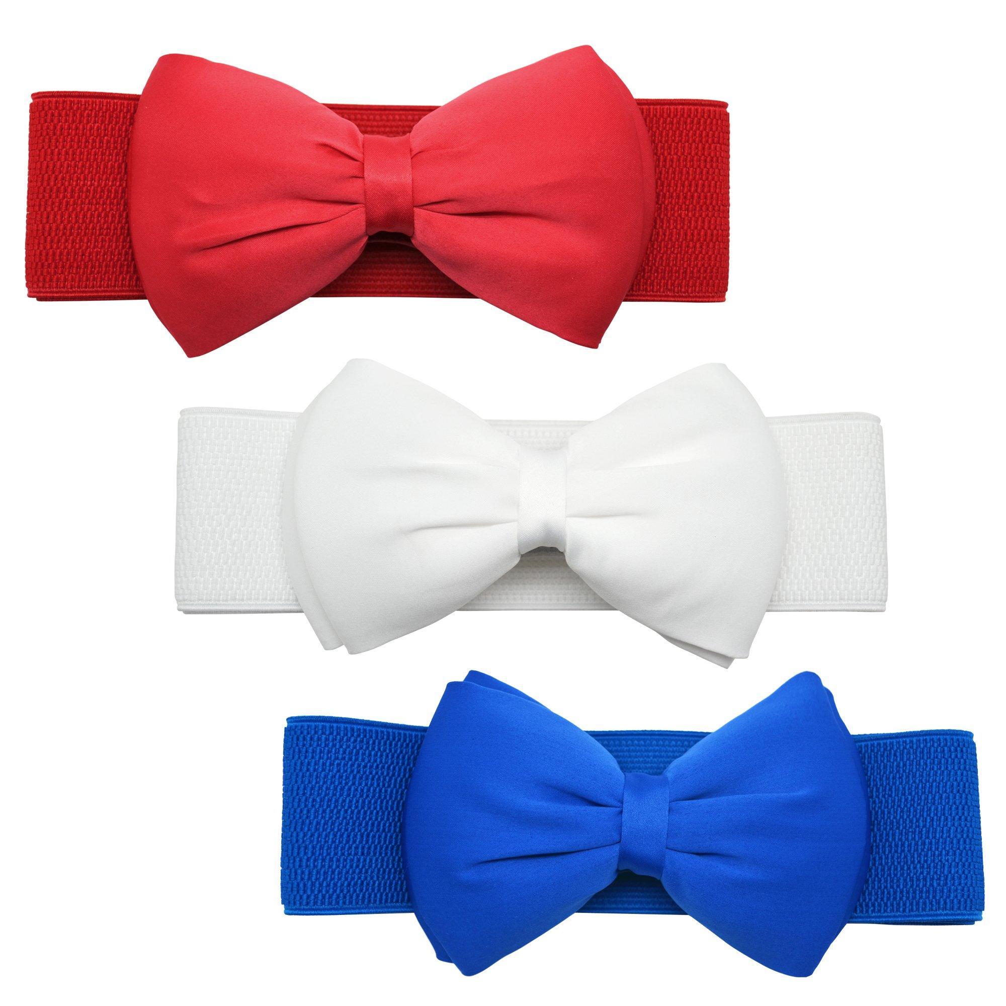Meta-U Women Flower Elastic Wide Waist Belt (blue&red&white bow)