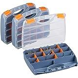 Relaxdays, Set 3 Unidades, Gris Cajas Organizadoras, Clasificador Tornillos y Piezas Pequeñas, Plástico, 6x32x24 cm