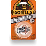 "Gorilla Tough & Clear Mounting Tape, Double-Sided, 1"" x 60"", Clear"