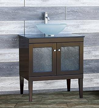Solid Wood 30u0026quot; Bathroom Vanity Cabinet Glass Vessel Sink ...