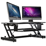 """Stand Up Desk Riser Height Adjustable - 32"""" Of Premium Design With Unlimited Standing Height Settings Positions, 2-Tier Desk Riser Dual Monitor Capability, With Keyboard Tray Casiii SX32 Black"""