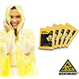 EMERGENCY RAIN PONCHOS-BULK PACK OF 5 FOR ADULTS. Perfect For Any Weather Situation