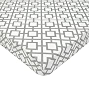 American Baby Company Fitted Portable/Mini Crib Sheet, 100% Natural Cotton Percale, Gray Lattice, Soft Breathable, for Boys and Girls