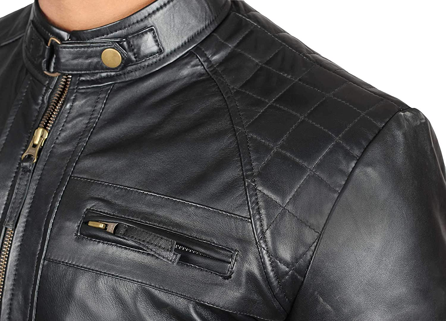 edf69831c0fba Mens Leather Jacket for Biker - Distressed Genuine Lambskin Brown Leather  Jacket Men at Amazon Men s Clothing store