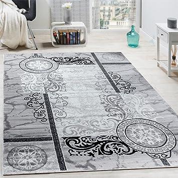 paco home designer teppich modern meliert floral mit versace muster kreise grau schwarz grsse - Versace Muster