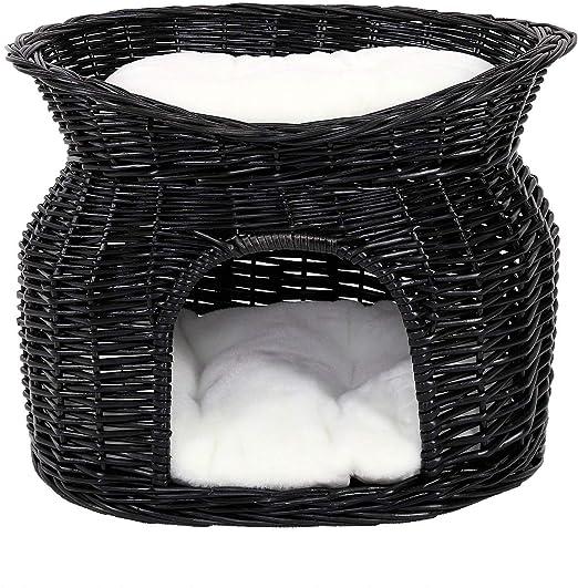 Dibea Cesta de Mimbre para Gatos Cesta para Gatos Cueva para Gatos 55x39x43 cm Negro: Amazon.es: Productos para mascotas
