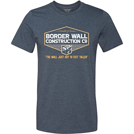 8a317b5a2 Amazon.com: GunShowTees Men's Donald Trump Border Wall Construction Company  T-Shirt: Clothing