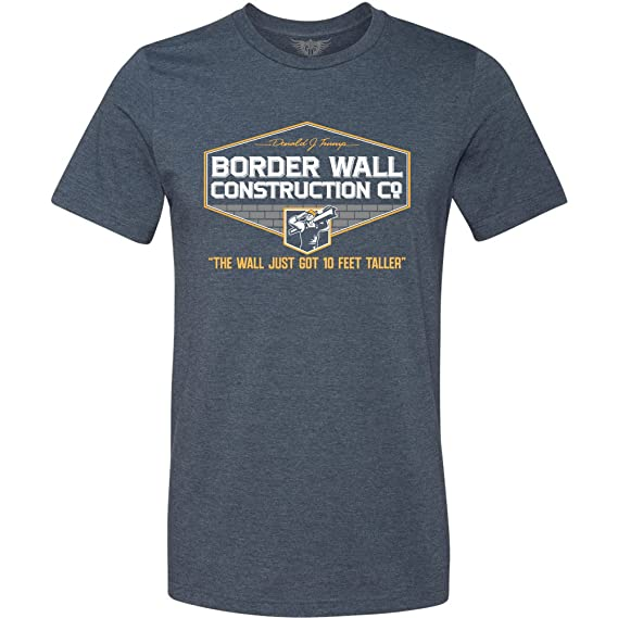 8a317b5a2 Amazon.com: GunShowTees Men's Donald Trump Border Wall Construction Company  T-Shirt: Clothing