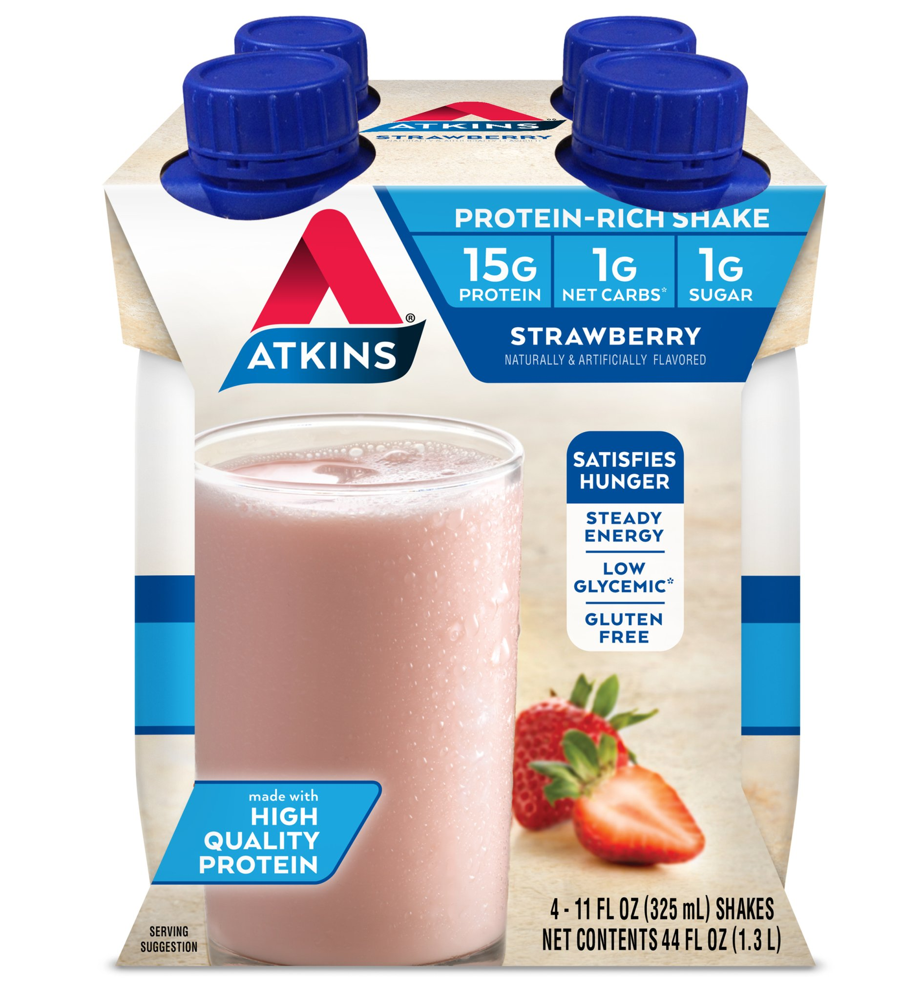 Atkins Shakes, Strawberry, 4 pk