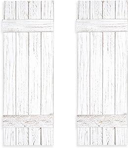 Ilyapa Wood Shutters Wall Decor - Farmhouse Style Weathered White Barn Door Shutters for Interior Wall Art
