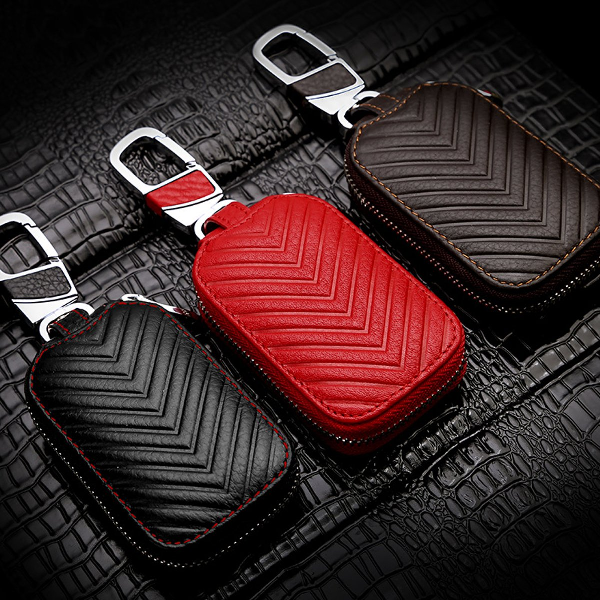 Red L MoreFarther Leather Car Key Case Key Holder for Car Smart Key Chain Key Ring Coin Case Keychains for Car Keys Fasion Zipper Wallet Case for Auto Remote Key