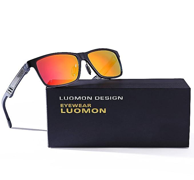 725397d5b08 LUOMON Men s Polarized Wayfarer Sunglasses Al-Mg Aloy Black Frame Orange  Mirrored Rectangular Lens