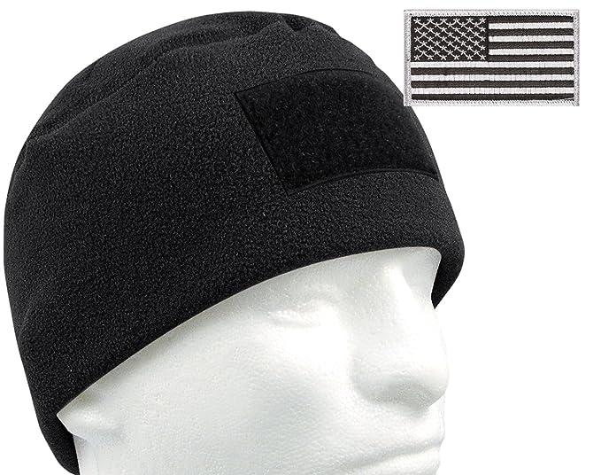da33b59a1bd Amazon.com  G.I. Type Tactical Polar Fleece Watch Cap and Patch Bundle ( Black)  Clothing