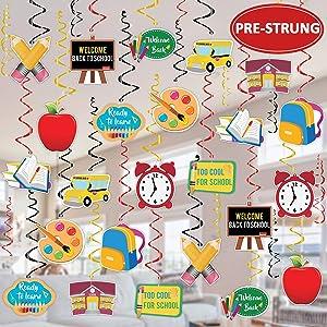 Tifeson 36PCS Back to School Hanging Swirls Decorations - First Day of School Classroom Swirl Hanging Decor - Welcome Back to School Party Decorations Supplies