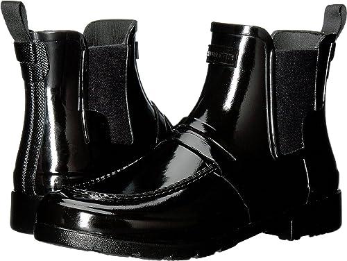 04271b2bb8e Hunter Women s Original Refined Penny Loafer Chelsea Black Boot