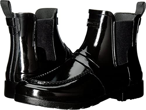 51f4b21db88 Hunter Women s Original Refined Penny Loafer Chelsea Black Boot