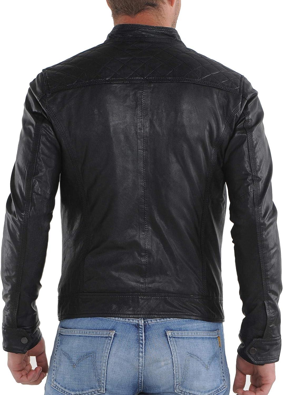 Mens Leather Jackets Motorcycle Bomber Biker Genuine Lambskin 20