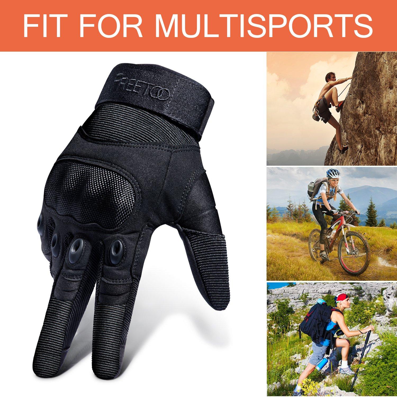 FREETOO Guantes T/ácticos Militar para Moto Excursi/ón Bici Ciclismo con Dedos Completos Deportes al aire libre Negro