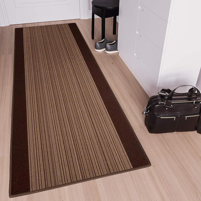 Tapiso Anti Rutsch Teppich L/äufer rutschfest Meterware Modern Br/ücke Streifen Gestreift Design Braun Meliert Flur Wohnzimmer 67 x 100 cm