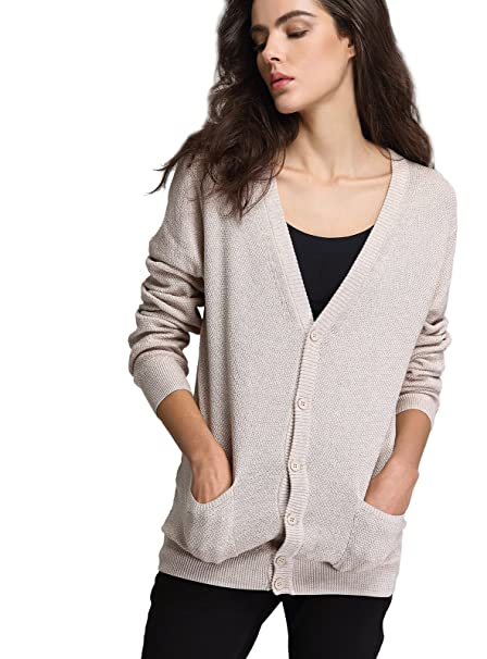 60bdd09adc Escalier Womens V-Neck Thin Button Down Long Sleeve Basic Soft Knit Cardigan  Sweater Beige