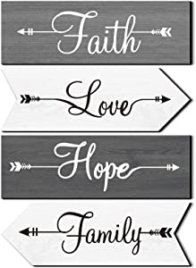 4 Pieces Rustic Wood Arrow Signs Faith Hope Love Family Wall Decors Rustic Wood Wall Sign Farmhouse Entryway Home Decorative Signs for Living Room Bedroom Decoration, 11.8 x 3.9 Inch (Gray White)