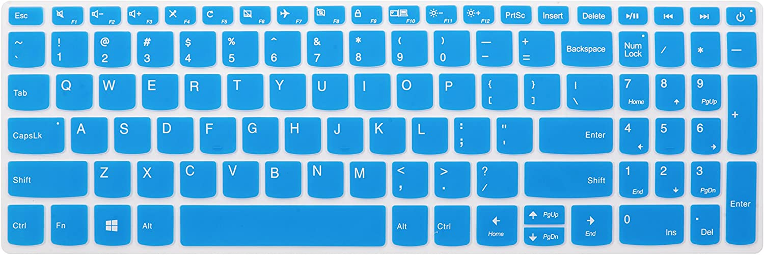 "Keyboard Cover for Lenovo Yoga C940 15, ThinkBook 15, ideapad 320 330 15.6/17.3, ideapad 3 330s 15.6/17.3, ideapad 520/S145 S340 S540 S740 15.6"", ideapad L340 15.6/17.3"" Laptop - Blue"