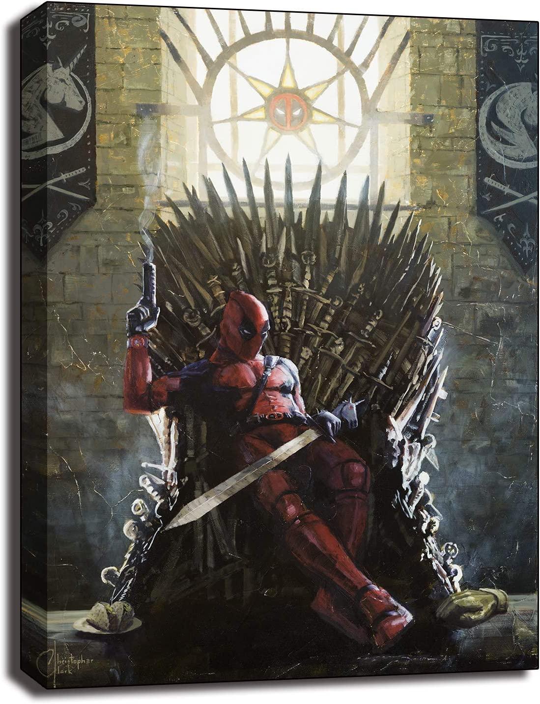 Deadpool On The Iron Throne Canvas Prints Picture Movie Paintings For Living Room Poster On The Wall Home Decor (No Frame