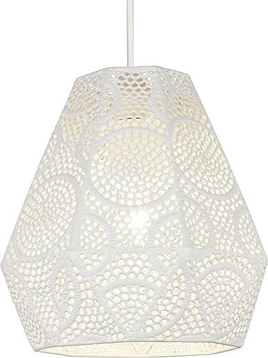 Illuminazione Collection traforo esagonale paralume bianco, acciaio, bianco opaco, 60 Watt