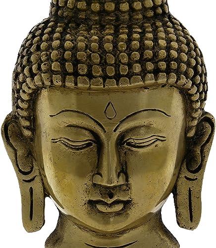 Statue Buddha Head Wall Art Decor Brass Metal Buddhist Gift