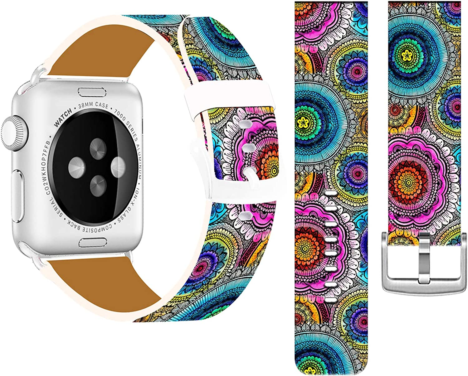 Band Compatible with Iwatch 42mm/44mm & Cisland Leather Strap Compatible with Apple Watch Series 1/2/3/4/5/6/SE Sport & Edition Beautiful Colorful Mandala Flower Art Design