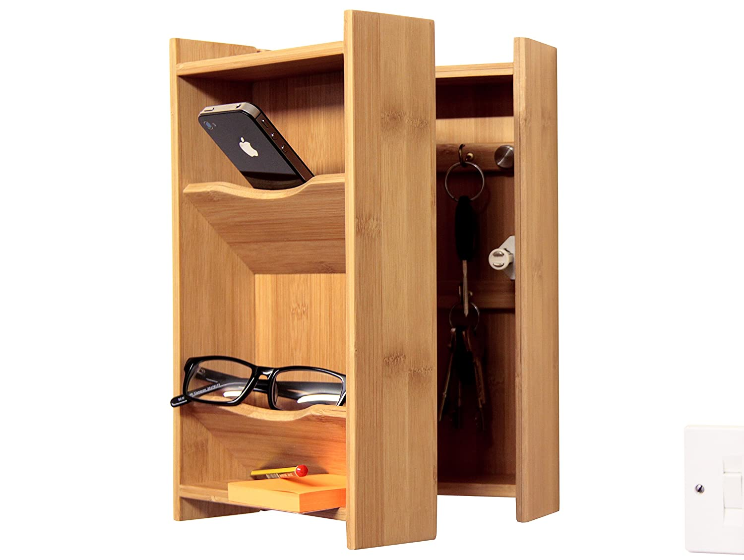 Bamboo Key Cabinet, Wall-Mounted Keys Box and Letters Holder Stand Finoak