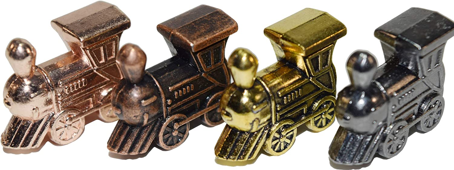 Regal Games Mexican Train Domino Metal Marker Trains (4 Piece Train Set with Unique Finishes)