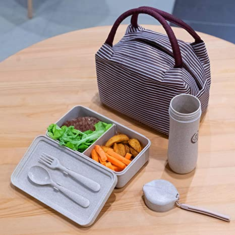 69eb69fc9a7 Eco-Wheat Straw Recycled Plastic Lunch Bags Set for Women Food Container -  Set of