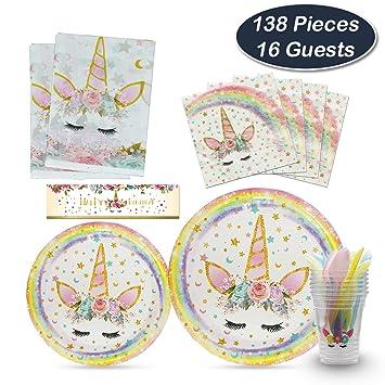 WERNNSAI Kit de Suministros para Fiesta de Unicornio - Favores de la Fiesta de Cumpleaños paraNiños Baby Shower Boda Vajilla Fiesta Mantel Platos ...
