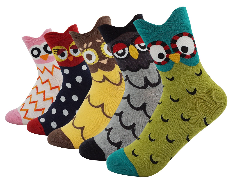 Women's Lady's Cute Owl Design Cotton Socks,5 Pairs Multi Color One Size by Bienvenu (Image #1)