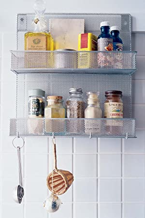 Wire Mesh Wall Mounted Kitchen Spice Rack and Organiser Amazonco