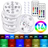TBJSM Submersible LED Lights, Waterproof Led Light with Remote RF, Suction Cups, Magnets,13 LED, 16 Colors, IP68 Waterproof, RGB Multiple Color Changing for Aquarium, Pond, Vase Base, Party (4 Packs)