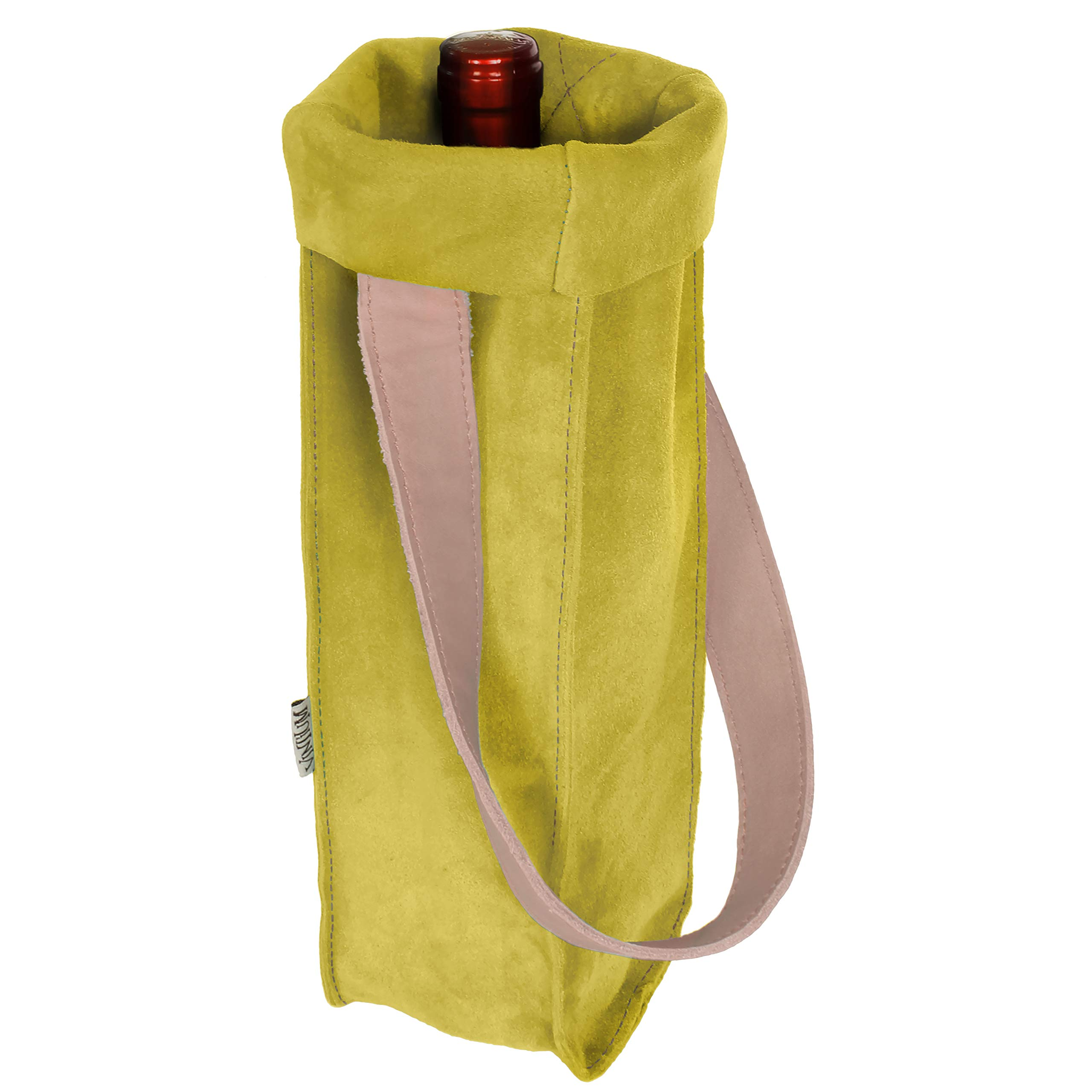 Vintium Genuine Suede Leather Wine Carrier Tote Bag Excellent Quality Fits 1 Bottle Perfect Gift for the Wine Enthusiast - Lemon