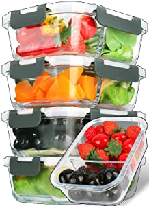 [5-Packs,29 Oz]Glass Meal Prep Containers 2 Compartments Portion Control with Upgraded Snap Locking Lids Glass Food Storage Containers BPA-Free, Microwave, Oven, Freezer and Dishwasher Safe