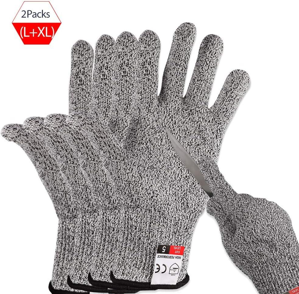 XL miuse 2 pares de guantes resistentes a los cortes de calidad alimentaria nivel 5 protecci/ón para la cocina tallado en madera mejora de la seguridad guantes anticortes para cortar carne L