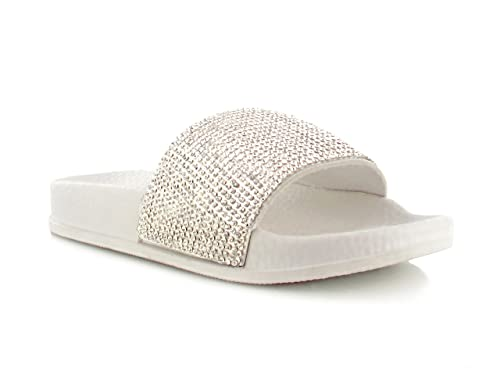 3c9089078 Chockers Shoes® Kids Girls Childrens Toddler Faux Fur Diamante Diamond  Bling Slip on Sandal Mule Shoes (White Diamante)  Amazon.co.uk  Shoes   Bags