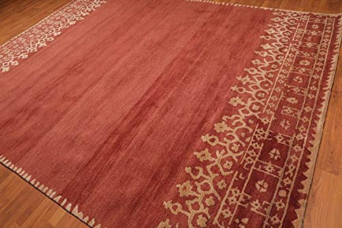 Old Hand Made Moore Terra Red Floral Traditional Persian Oriental Woolen Area Rugs 8 x10