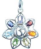 Chakra Anhänger Lotos Blume des Lebens mit OM, 925 Sterling Silber, sieben facettierte Edelsteine, Versand innerhalb 24 Stunden !!!
