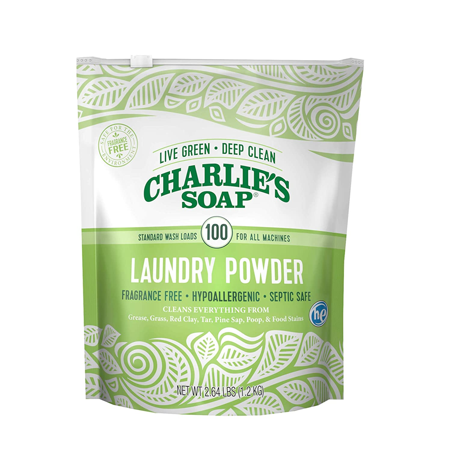 e2d2de125fa Charlie's Soap – Fragrance Free Powdered Laundry Detergent – 100 Loads  (2.64 lbs, 1 Pack)