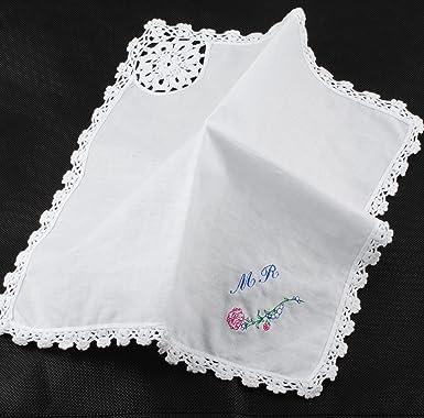 GP Personalized Handkerchief Custom Embroidered Pocket Square Cotton  Handkerchief for Men Women Gift