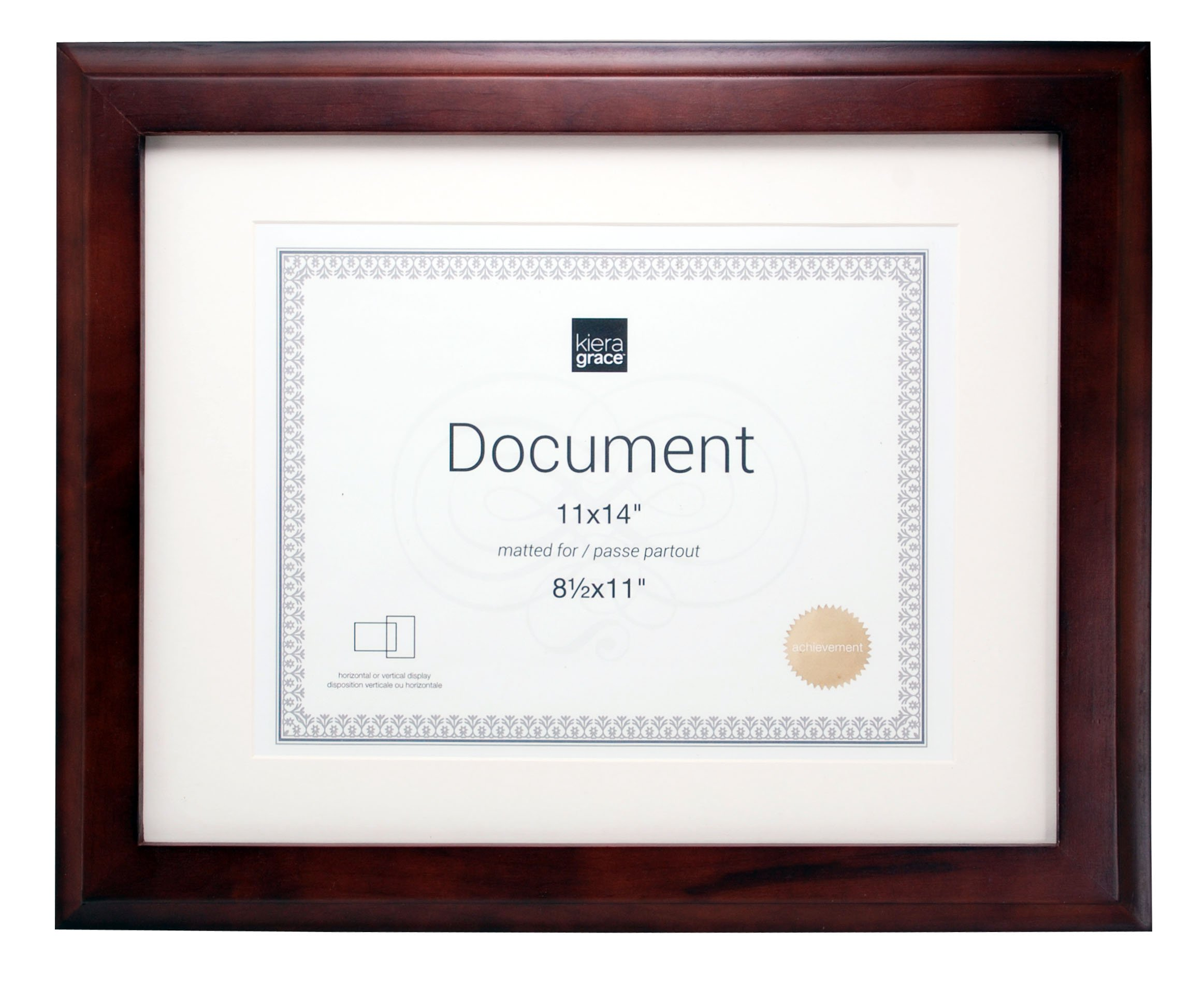 Kieragrace Kiera Grace Oxford Document Frame, 14 Matted for 8.5 by 11-Inch, Pack of 8, Espresso